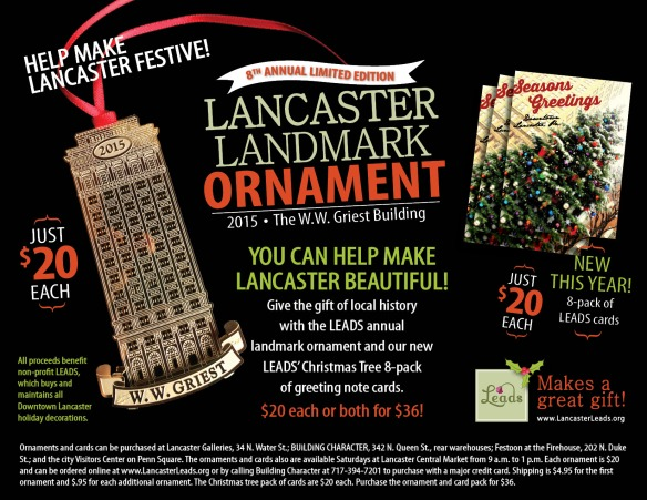 Ornaments and cards can be purchased at Lancaster Galleries, 34 N. Water St.; BUiLDiNG CHARACTER, 342 N. Queen St., rear warehouses; Festoon at the Firehouse, 202 N. Duke St.; and the city Visitors Center on Penn Square. The ornaments and cards also are available Saturdays at Lancaster Central Market from 9 a.m. to 1 p.m.