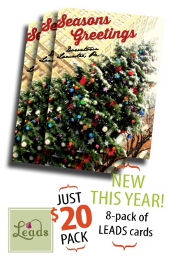 The new 8-pack of note greeting cards features the 2014 LEADS / City of Lancaster Christmas Tree on Penn Square.